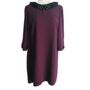 Lauren Conrad Large Dress Plum with Collar